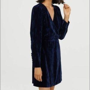 H&M crushed navy velvet surpluses dress long